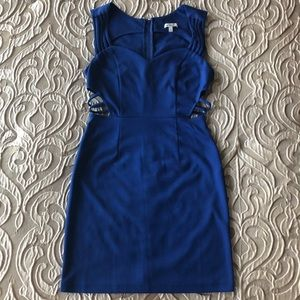 Charlotte Russe Blue Mini Dress with Cutout Sides